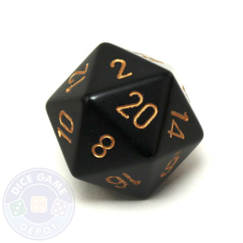 Big d20 - 34mm opaque Black and Gold dice