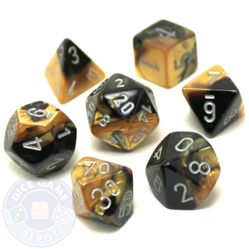 7-piece Gemini dice set - D&D dice - Black and Gold