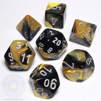 Black and Gold Gemini Dice Set - DnD Dice