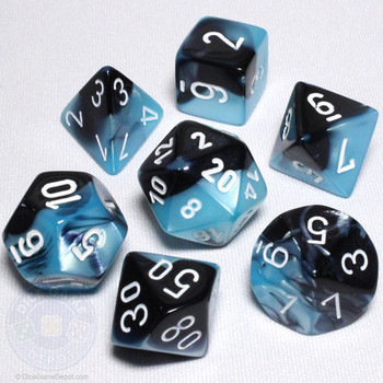 Black and Shell Gemini Dice Set - DnD Dice