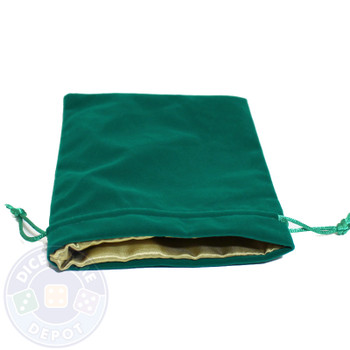 Green dice bag with gold satin lining