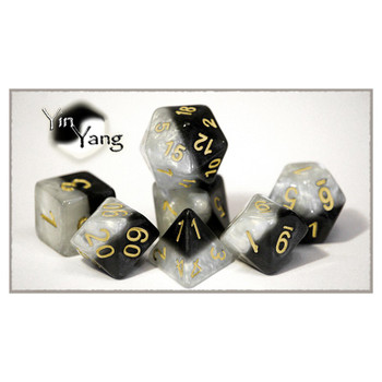 7-piece Halfsies dice set - D&D dice - Yin Yang