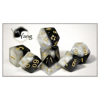 Halfsies polyhedral dice set - D&D dice - Yin Yang