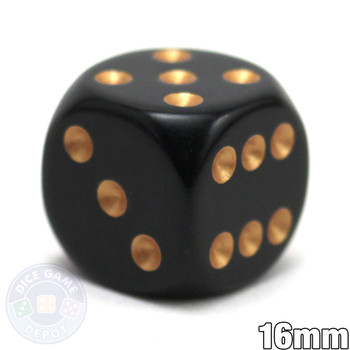 Black 6-sided dice with gold spots - Round corners - 16mm