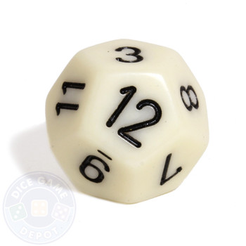 d12- Ivory 12-sided dice from Chessex