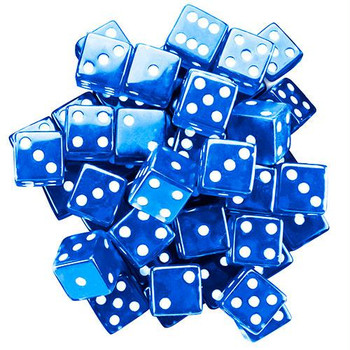 Transparent Dice - Set of 25 Blue 19mm d6s