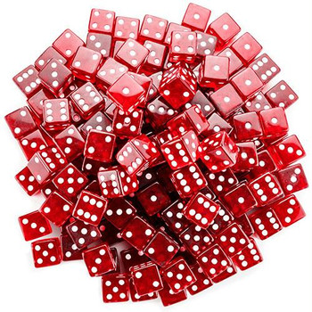 19mm red transparent dice - Set of 100