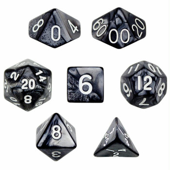 Pearlized smoke polyhedral dice set - D&D dice