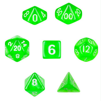 Translucent green dice set