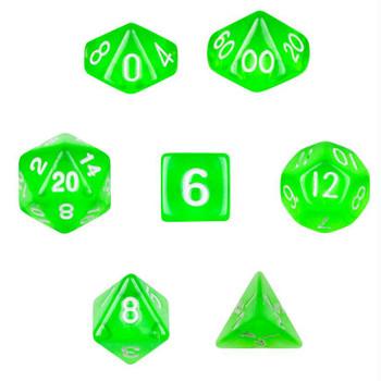 Translucent green dice set