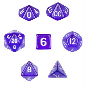Translucent purple dice set