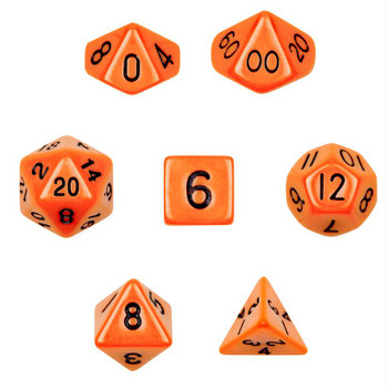 Opaque orange polyhedral dice set - D&D dice