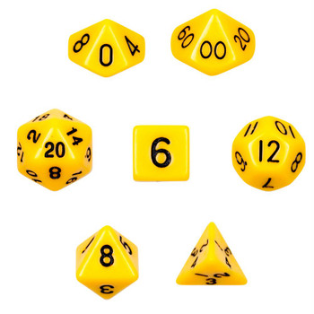 Opaque yellow polyhedral dice set - D&D dice