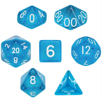 Transparent blue polyhedral dice set - D&D dice