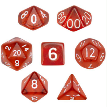 Transparent red polyhedral dice set - D&D dice