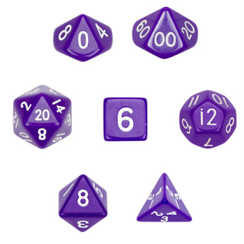 Opaque purple polyhedral dice set - D&D dice