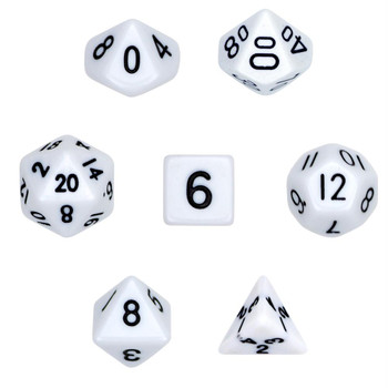 Opaque white polyhedral dice set - D&D dice