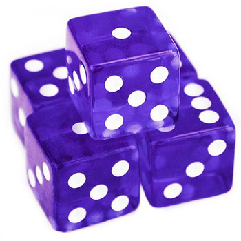 Purple transparent 19mm dice - Set of 5