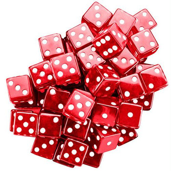 Red transparent 19mm dice - Set of 25