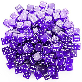 Transparent purple dice - 19mm - Set of 100