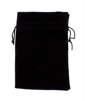 Large 7x5 Plain Black Velour Pouch With Drawstring