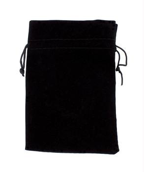 Large 7x5 Plain Black Velour Pouch With Drawstring