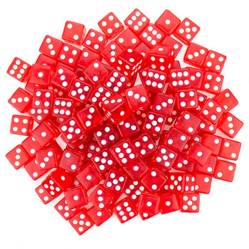 Transparent red dice - Set of 100