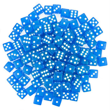 Transparent blue 6-sided dice - Set of 100