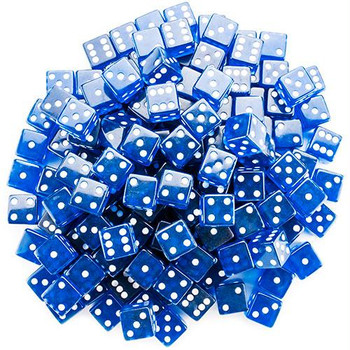 Transparent blue dice