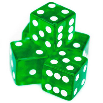 Transparent green dice - 19mm