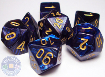 RPG dice set - Royal blue Scarab dice