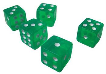 Transparent green dice