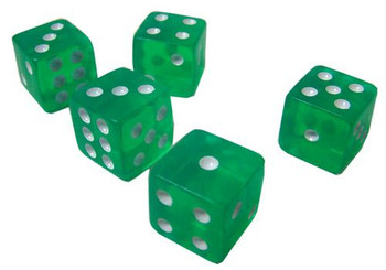 Transparent green dice