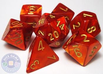 Scarab Polyhedral Dice Set - Scarlet