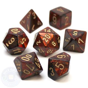 D&D 7-piece dice set - Scarab - Blue Blood