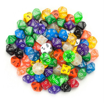 100 assorted d10 dice