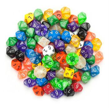 100 assorted d10 dice