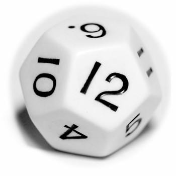 Large d12 - White with black numbers