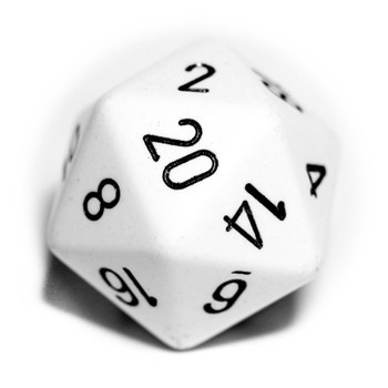 Big d20 - 34mm opaque white dice