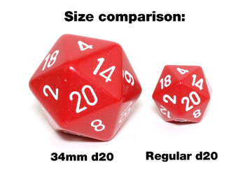 Opaque Dice - White and Black 34mm d20
