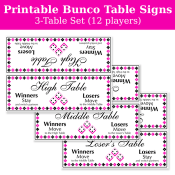 Printable Bunco table signs for 3 tables