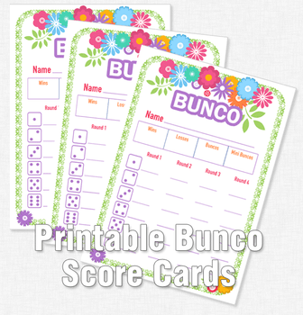 Bunco printable score cards with a flower theme
