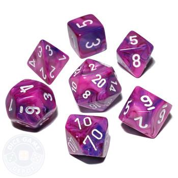 7-piece Festive dice set - DnD dice set - Violet