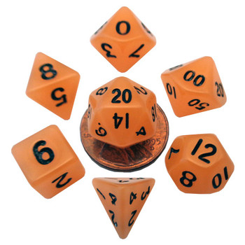 Mini 10mm orange glow in the dark dice set