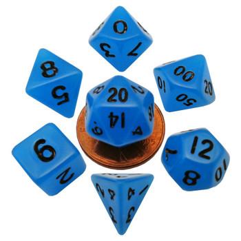 Mini 10mm blue glow in the dark dice set