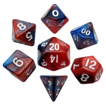 Small 7-piece dice set - Red and blue