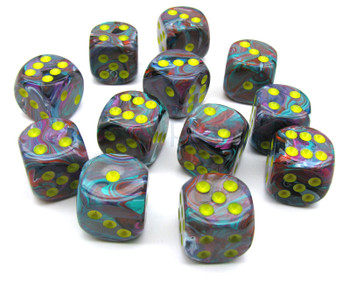 Set of 12 Festive Mosaic six-sided dice