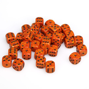 12mm Speckled Fire d6s - Set of 36