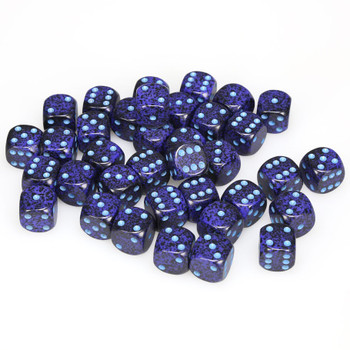 12mm Speckled Cobalt d6s - Set of 36