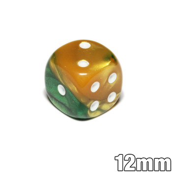 12mm Gemini Gold and Green d6